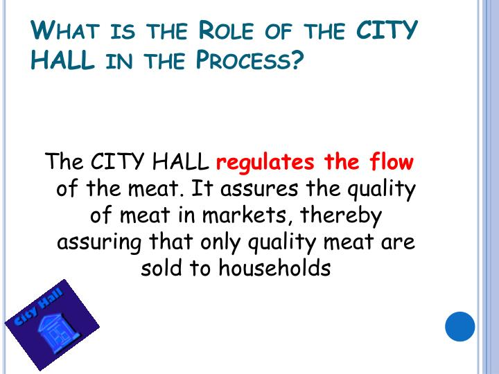 What is the Role of the CITY HALL in the Process?