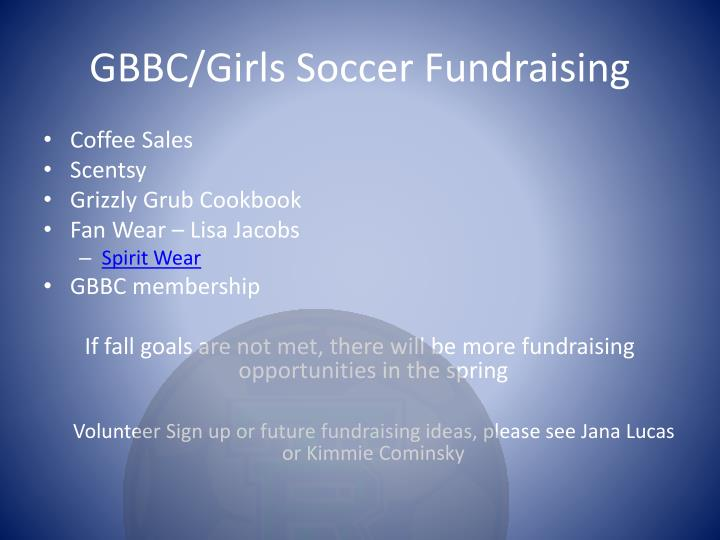 GBBC/Girls Soccer Fundraising
