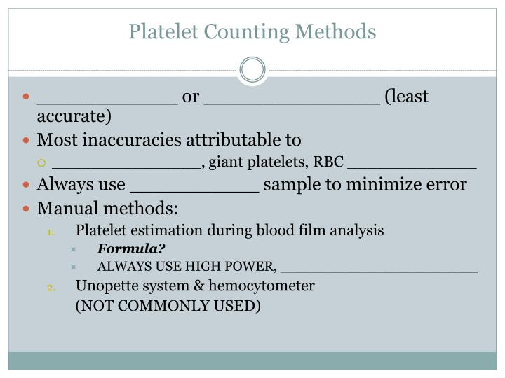Platelet Counting Methods