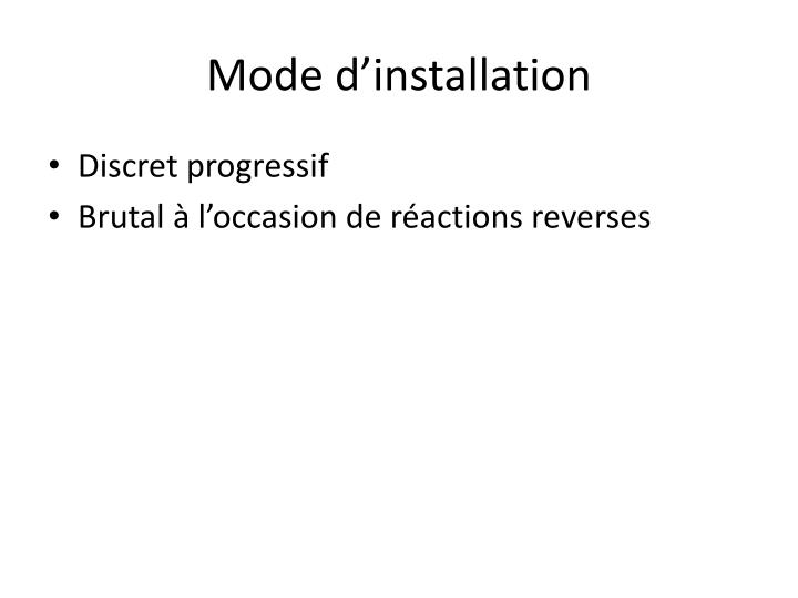 Mode d installation