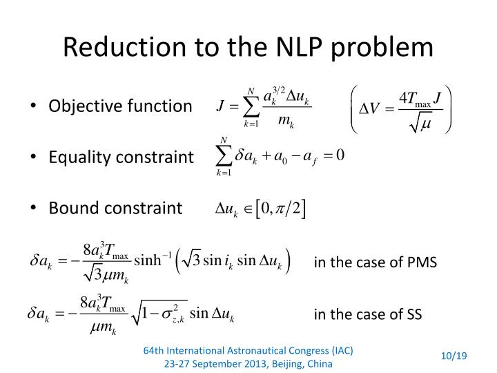 Reduction to the NLP problem