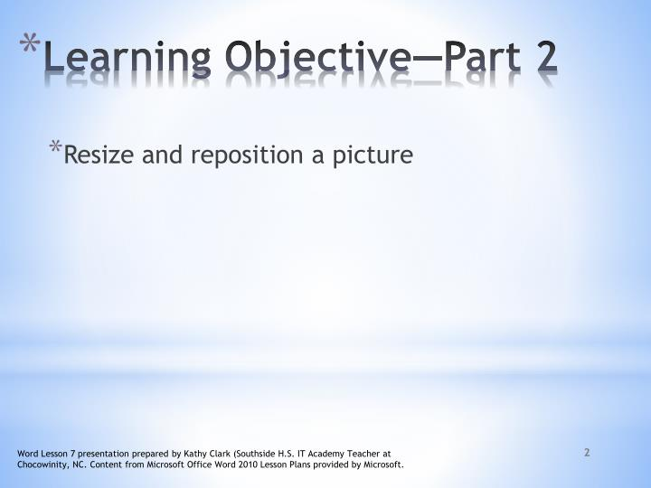 Learning objective part 2