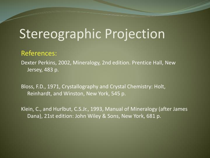 stereographic projection n.