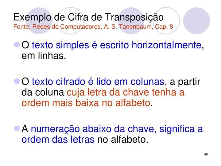 Exemplo de Cifra de Transposição