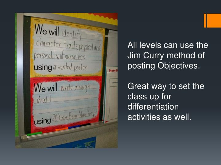 All levels can use the Jim Curry method of posting Objectives.