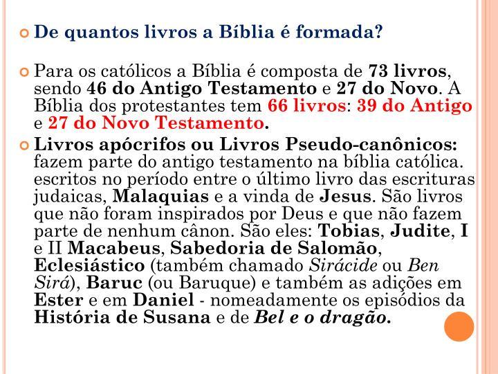 De quantos livros a Bíblia é formada?