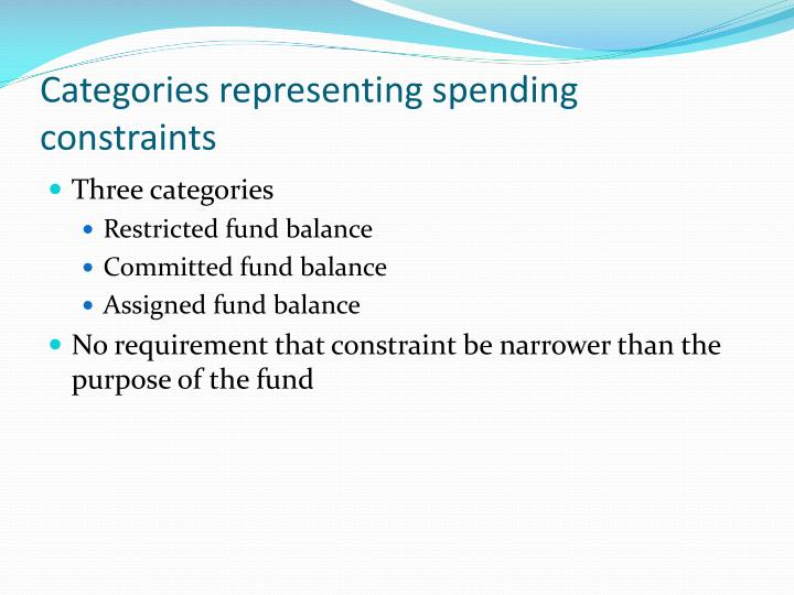 Categories representing spending constraints