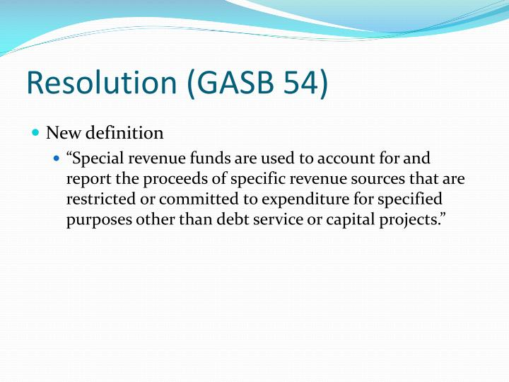 Resolution (GASB 54)