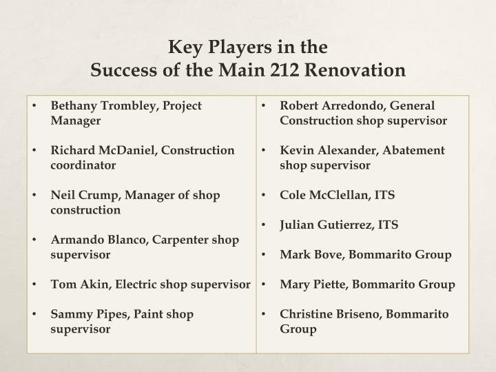 key players in the success of the main 212 renovation n.