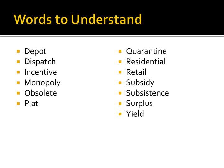 Words to understand