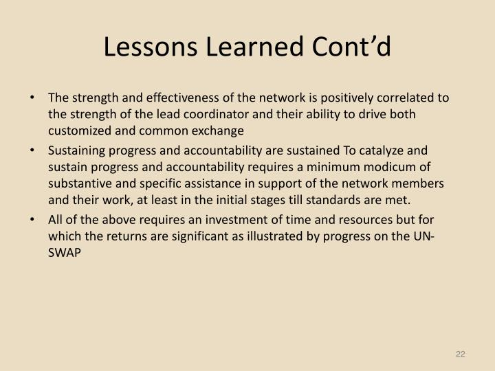 Lessons Learned Cont