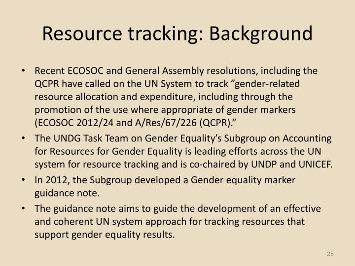 Resource tracking: Background