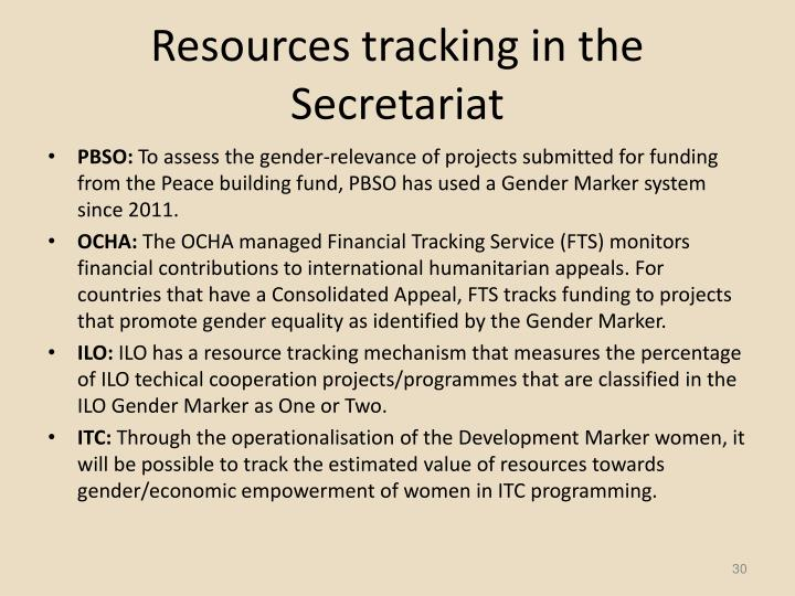 Resources tracking in the Secretariat