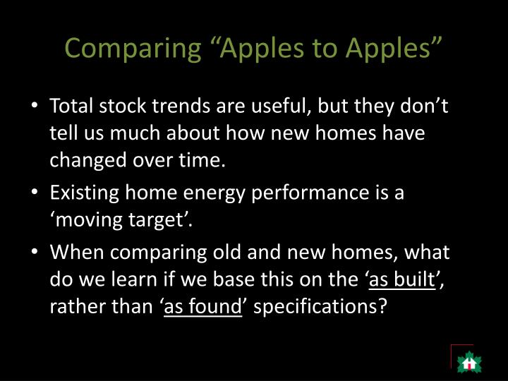"Comparing ""Apples to Apples"""