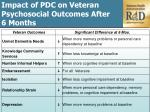 i mpact of pdc on veteran psychosocial o utcomes a fter 6 months