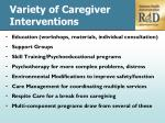 variety of caregiver interventions
