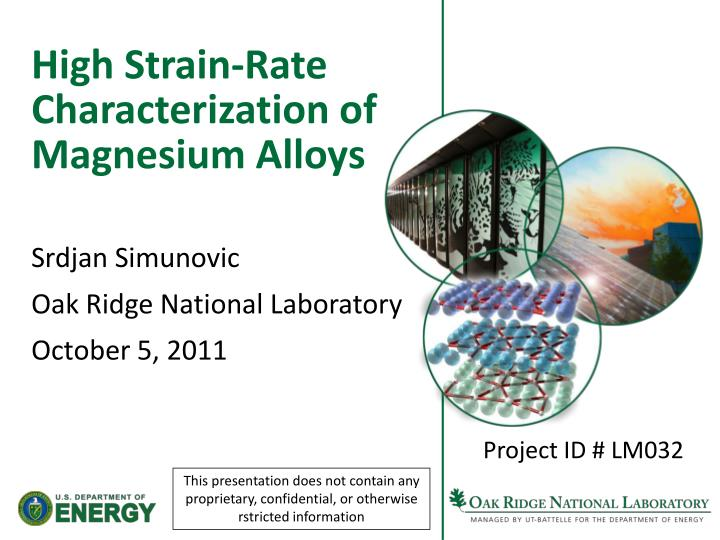 high strain rate characterization of magnesium alloys n.
