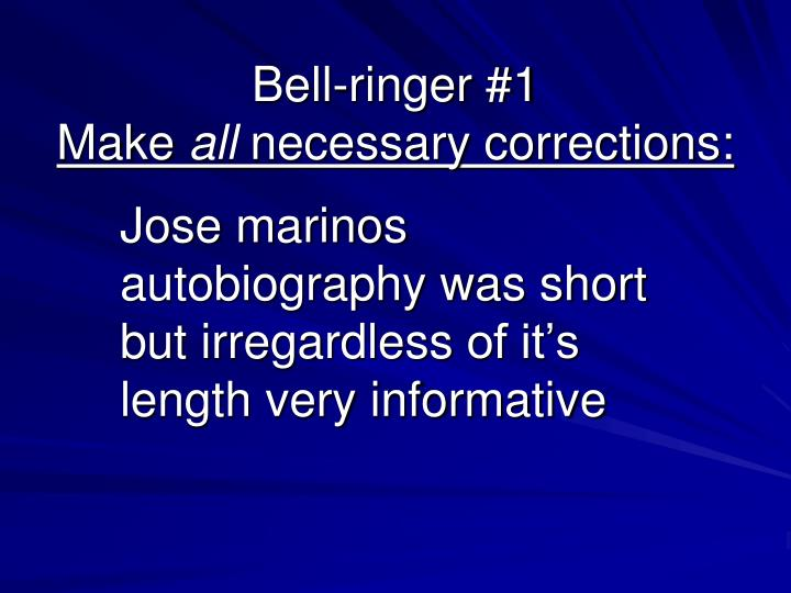 bell ringer 1 make all necessary corrections n.
