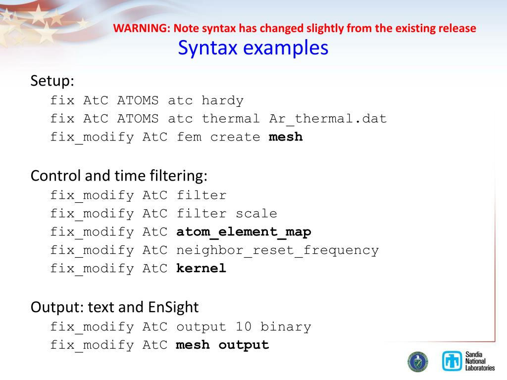 PPT - Atom-to-Continuum ( AtC ) package for LAMMPS aka paid