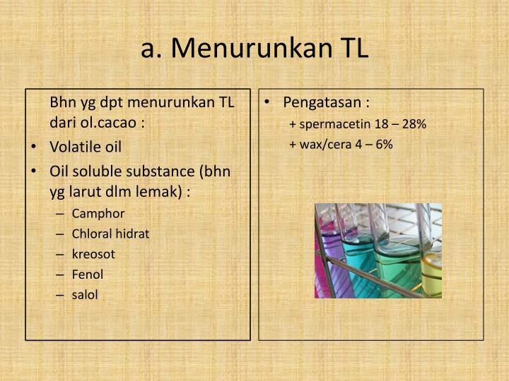 Bhn yg dpt menurunkan TL dari ol.cacao :