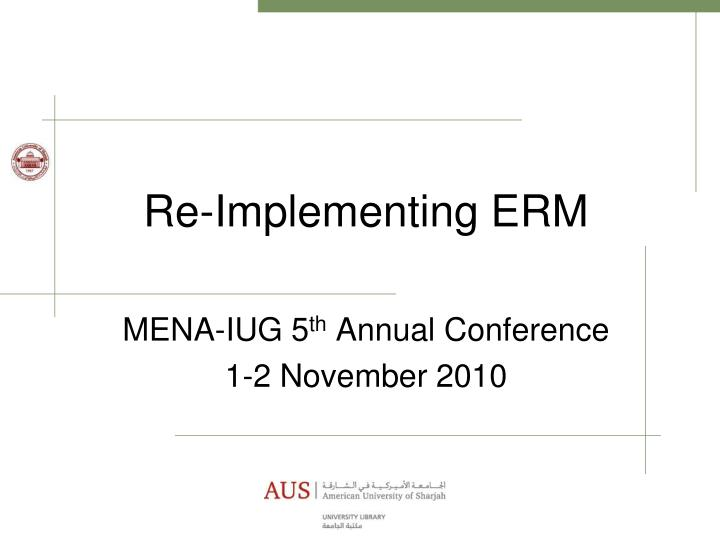 re implementing erm n.