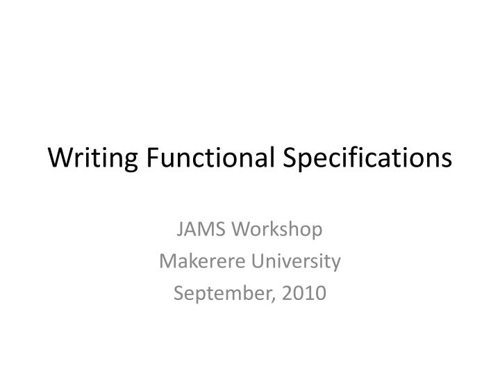 writing functional specifications n.