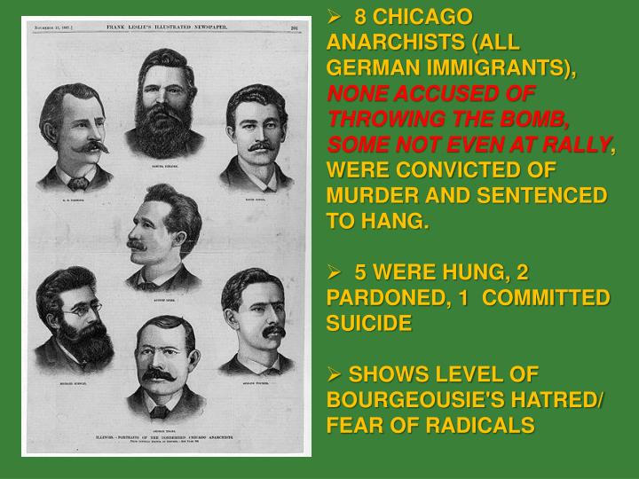 8 CHICAGO ANARCHISTS (ALL GERMAN IMMIGRANTS),
