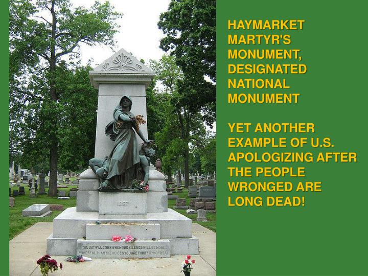 HAYMARKET MARTYR'S MONUMENT, DESIGNATED NATIONAL MONUMENT