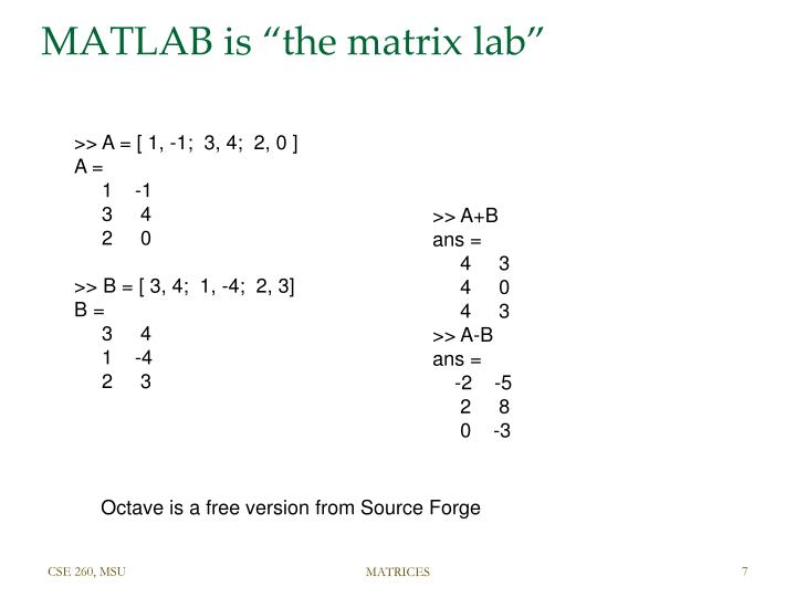 "MATLAB is ""the matrix lab"""