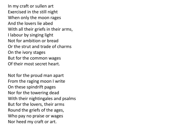In my craft or sullen art