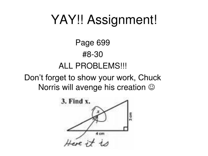 YAY!! Assignment!