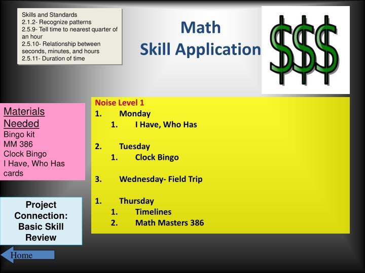 Skills and Standards