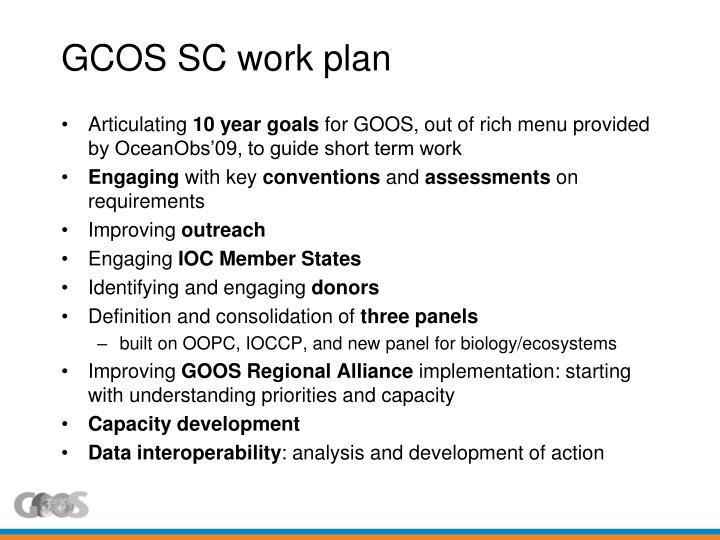 GCOS SC work plan