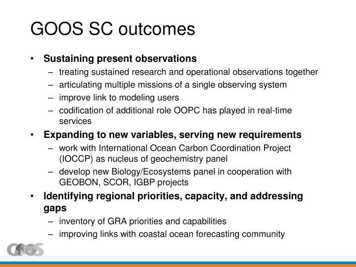 GOOS SC outcomes