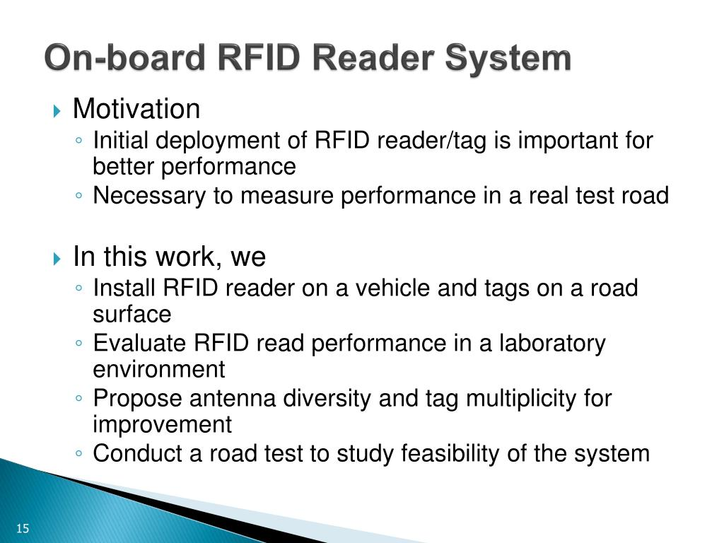 PPT - Installation and Evaluation of RFID Readers on Moving Vehicles