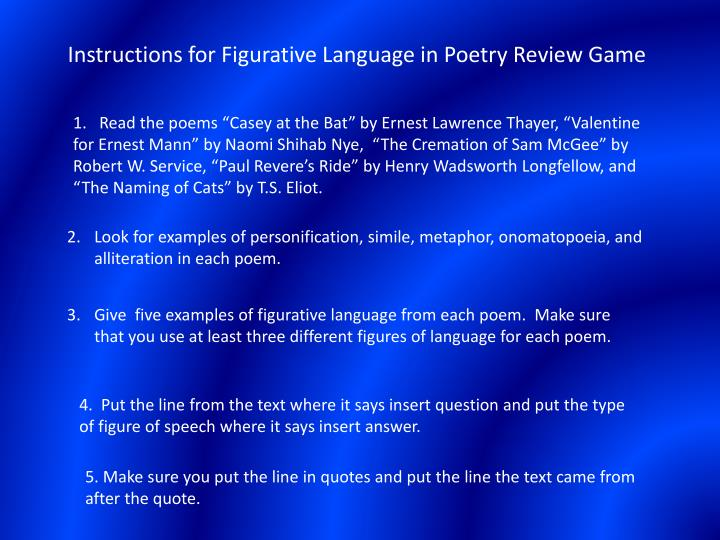 figurative language 2 essay Using figurative language in poetry can make our work more compelling, vivid, and visceral.