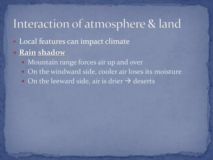 Interaction of atmosphere & land