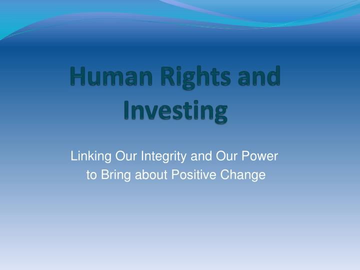 human rights and investing n.