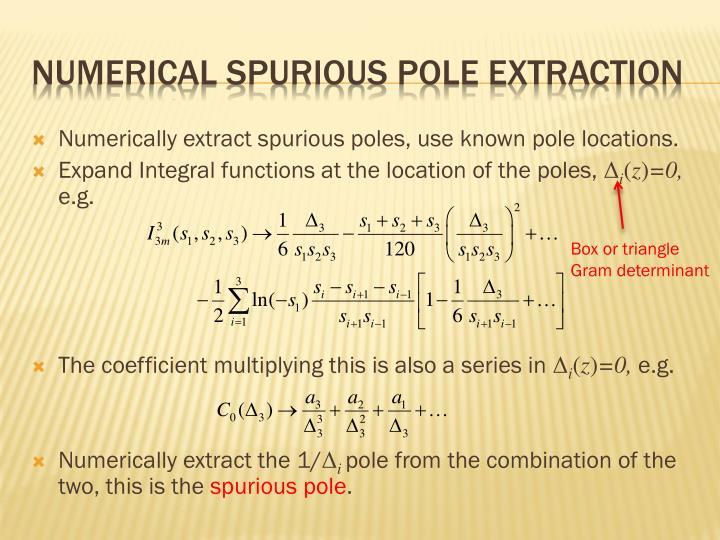 Numerical Spurious pole extraction