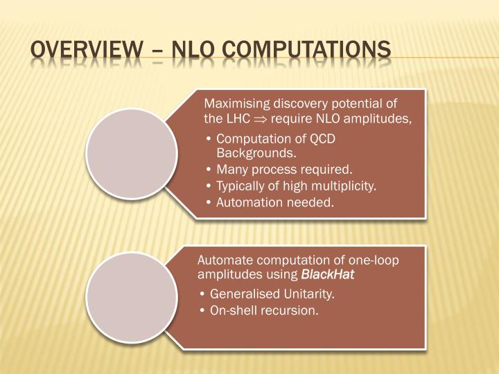 Overview nlo computations