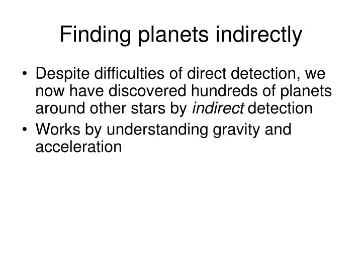 Finding planets indirectly