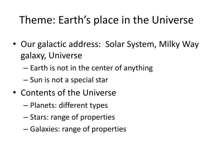 Theme: Earth's place in the Universe