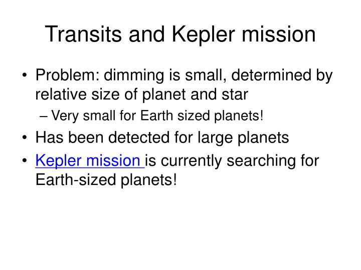 Transits and Kepler mission