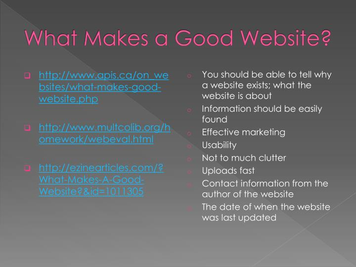 what makes a good website n.