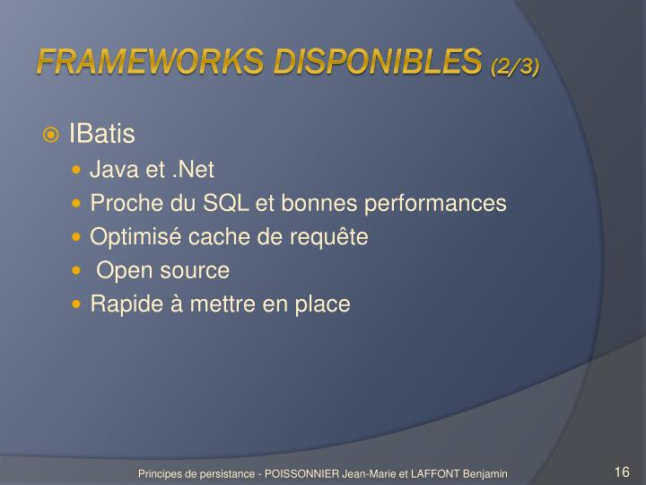 Frameworks disponibles