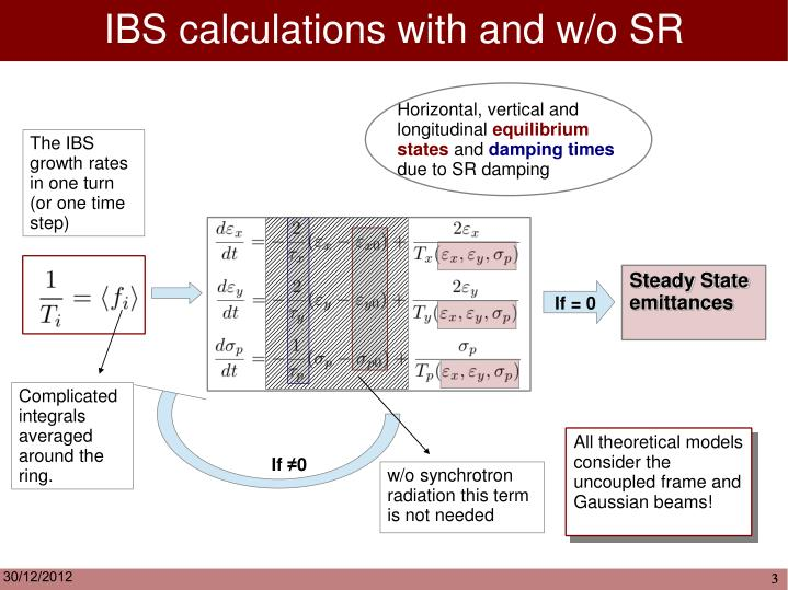 IBS calculations with and w/o SR