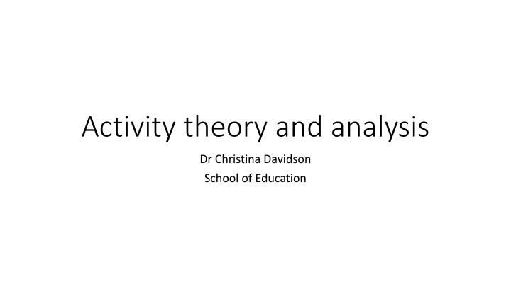 activity theory and analysis n.