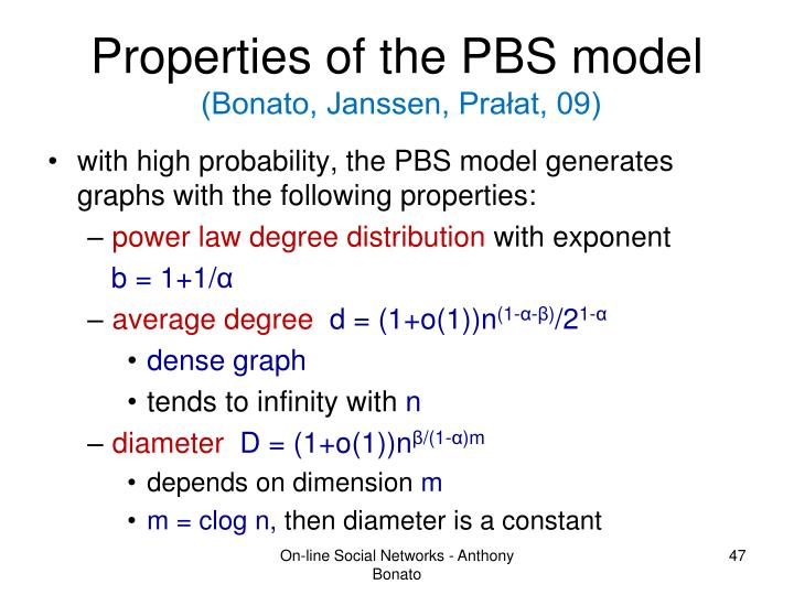 Properties of the PBS model