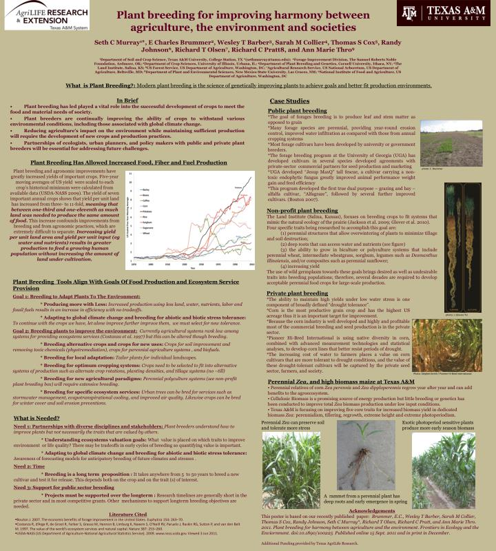 plant breeding for improving harmony between agriculture the environment and societies n.
