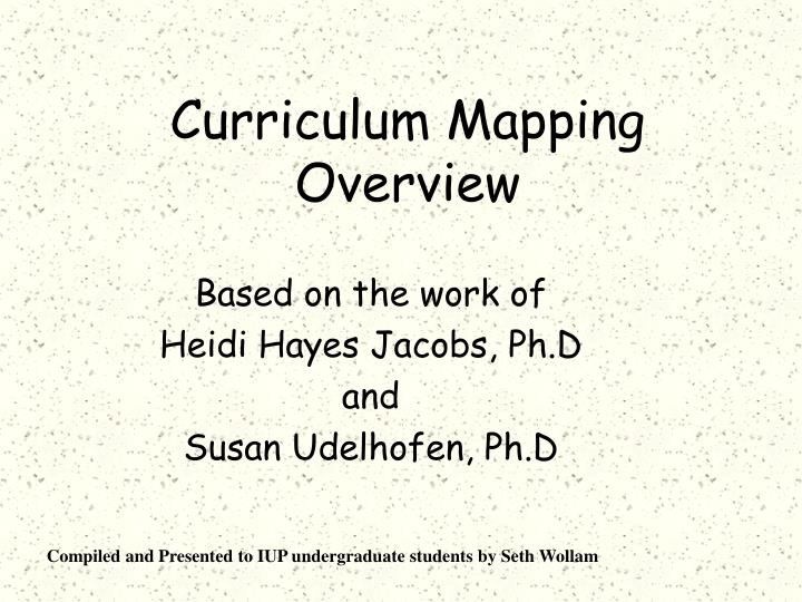 curriculum mapping overview n.